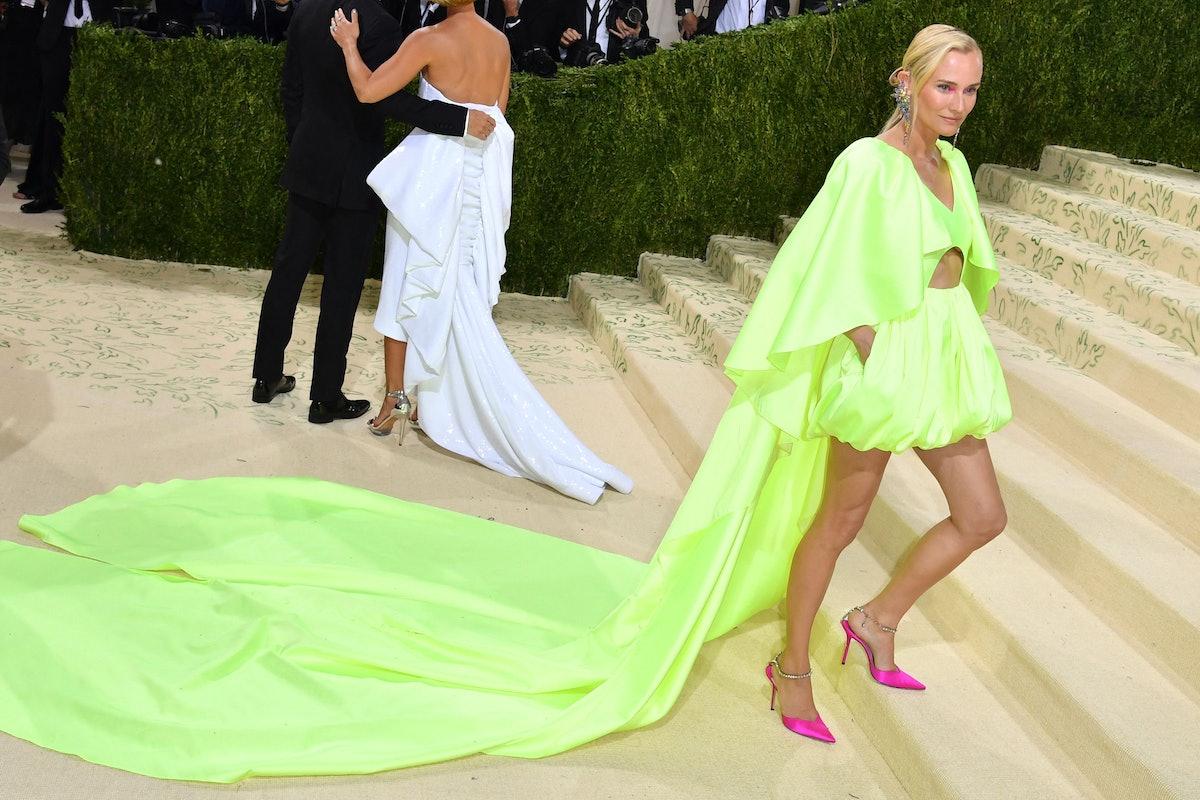 German actress Diane Kruger arrives for the 2021 Met Gala at the Metropolitan Museum of Art on Septe...