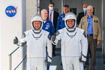 KENNEDY SPACE CENTER, FL - MAY 30: NASA commercial crew astronauts Doug Hurley (L) and Bob Behnken ...