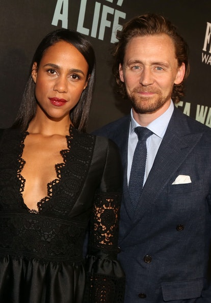 """Zawe Ashton and Tom Hiddleston pose at the opening night of """"Sea Wall/A Life"""" on Broadway at The Hud..."""