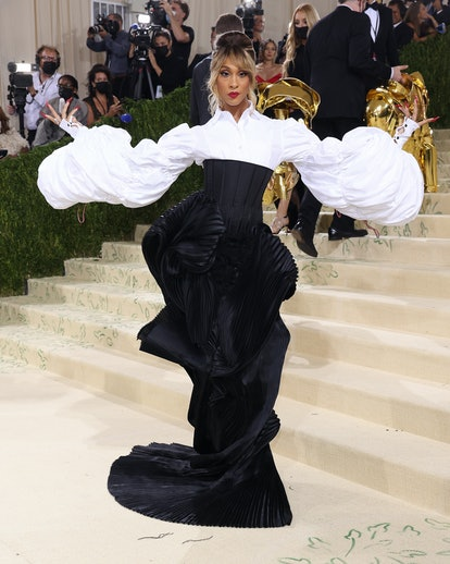 """Mj Rodriguez wears Thom Browne to the 2021 Met Gala benefit """"In America: A Lexicon of Fashion"""" on Se..."""