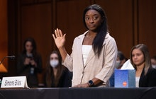WASHINGTON, DC - SEPTEMBER 15: U.S. Olympic gymnast Simone Biles is sworn in to testify during a Sen...