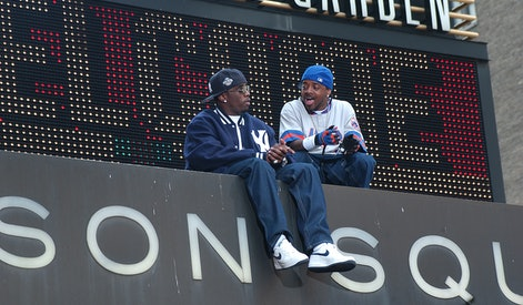 View of American rappers Sean 'P Diddy' Combs (left) and Jermaine Dupri on the marquee of Madison Sq...