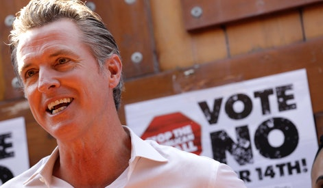 EAST LOS ANGELES, CA - AUGUST 14, 2021 - -California Gov. Gavin Newsom makes a statement against his...