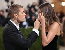 Justin Bieber appears to be consoling Hailey Bieber at the 2021 Met Gala right before she put on her...