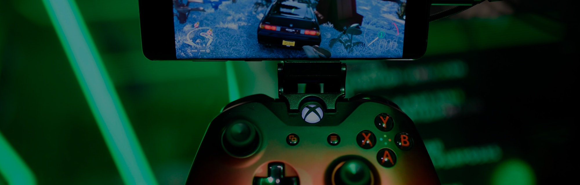 A cloud-based console is displayed at the Microsoft Xbox stand during the Video games trade fair Gam...