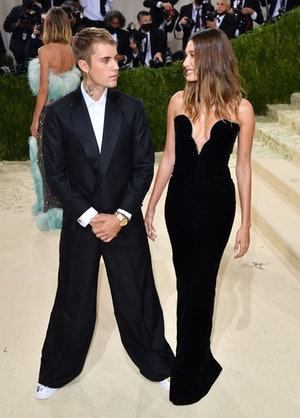 Canadian singer-songwriter Justin Bieber and his wife US model Hailey Rhode Baldwin Bieber arrive fo...