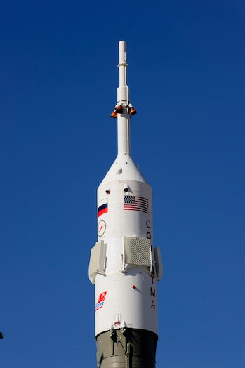 """This handout photo from the European Space Agency (ESA) shows Russian """"Soyuz TMA-15"""" rocket sitting ..."""
