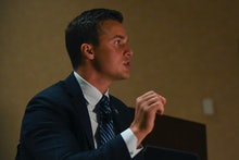 DALLAS, TX - JULY 9  Rep. Madison Cawthorn (NC-11) makes opening remarks at the Hilton Anatole Hotel...