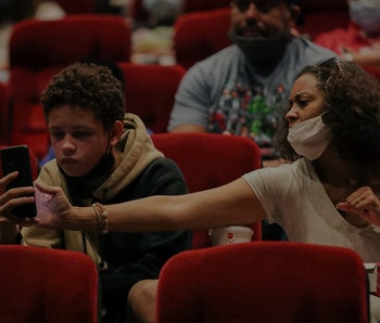 Monterey Park, CA - September 04: Movie goers at the screening of Shang-Chi and the Legend of the Te...