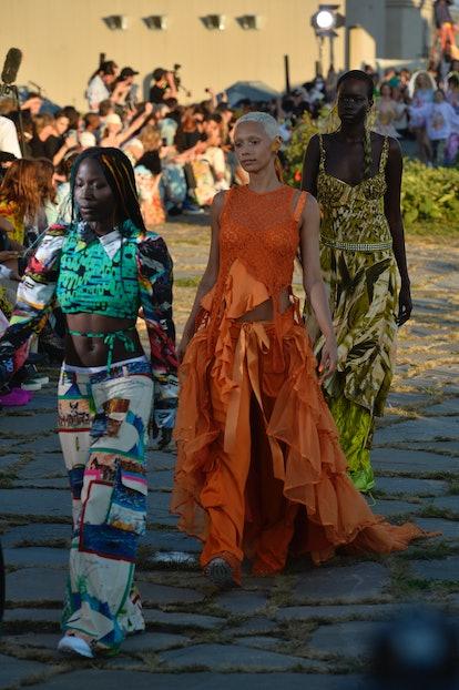 NEW YORK,NEW YORK - SEPTEMBER 07: Models walk the runway at Collina Strada Spring/Summer 2022 at Bro...