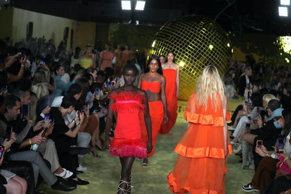 NEW YORK, NEW YORK - SEPTEMBER 12: Models walks the runway for Staud during NYFW: The Shows at Terra...