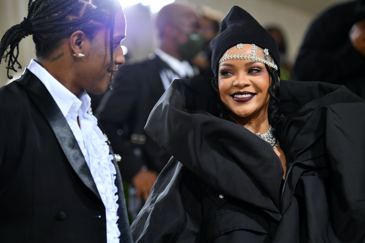 NEW YORK, NEW YORK - SEPTEMBER 13: ASAP Rocky and  Rihanna attend The 2021 Met Gala Celebrating In A...