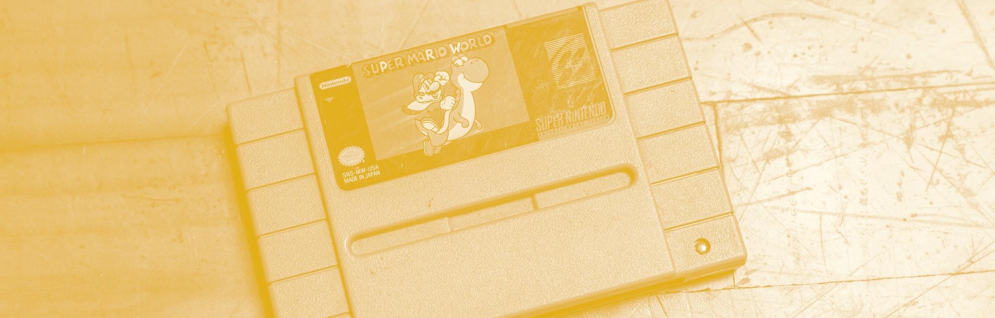 Old Super Mario World Nintendo Cassette Tape for Super Nintendo Game Entertainment System