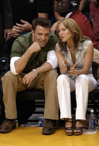 Dress up as Jennifer Lopez and Ben Affleck at the Los Angeles Lakers game for Halloween.