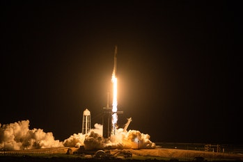 The SpaceX Falcon 9 rocket carrying the Inspiration4 crew launches from Pad 39A at NASA's Kennedy Sp...