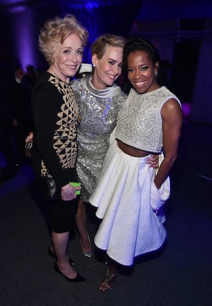 SANTA MONICA, CA - JANUARY 17:  (L-R) Actresses Holland Taylor, Sarah Paulson and Regina King attend...