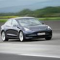Diedenbergen, Germany - May 12, 2021: Tesla Model 3 on a highway nearby Wiesbaden in Germany. The Te...