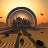 Futuristic City in Protective Sphere on the Surface of the Planet Mars