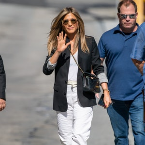 Jennifer Aniston  wears black quilted Chanel Classic Flap Bag While outside at 'Jimmy Kimmel Live' o...