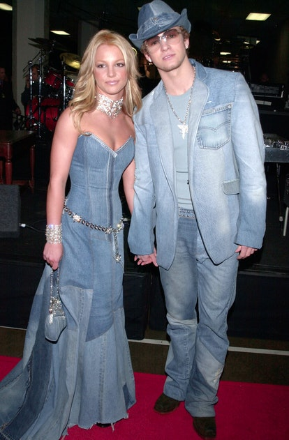Britney Spears and Justin Timberlake in matching denim looks at the 2001 American Music Awards.