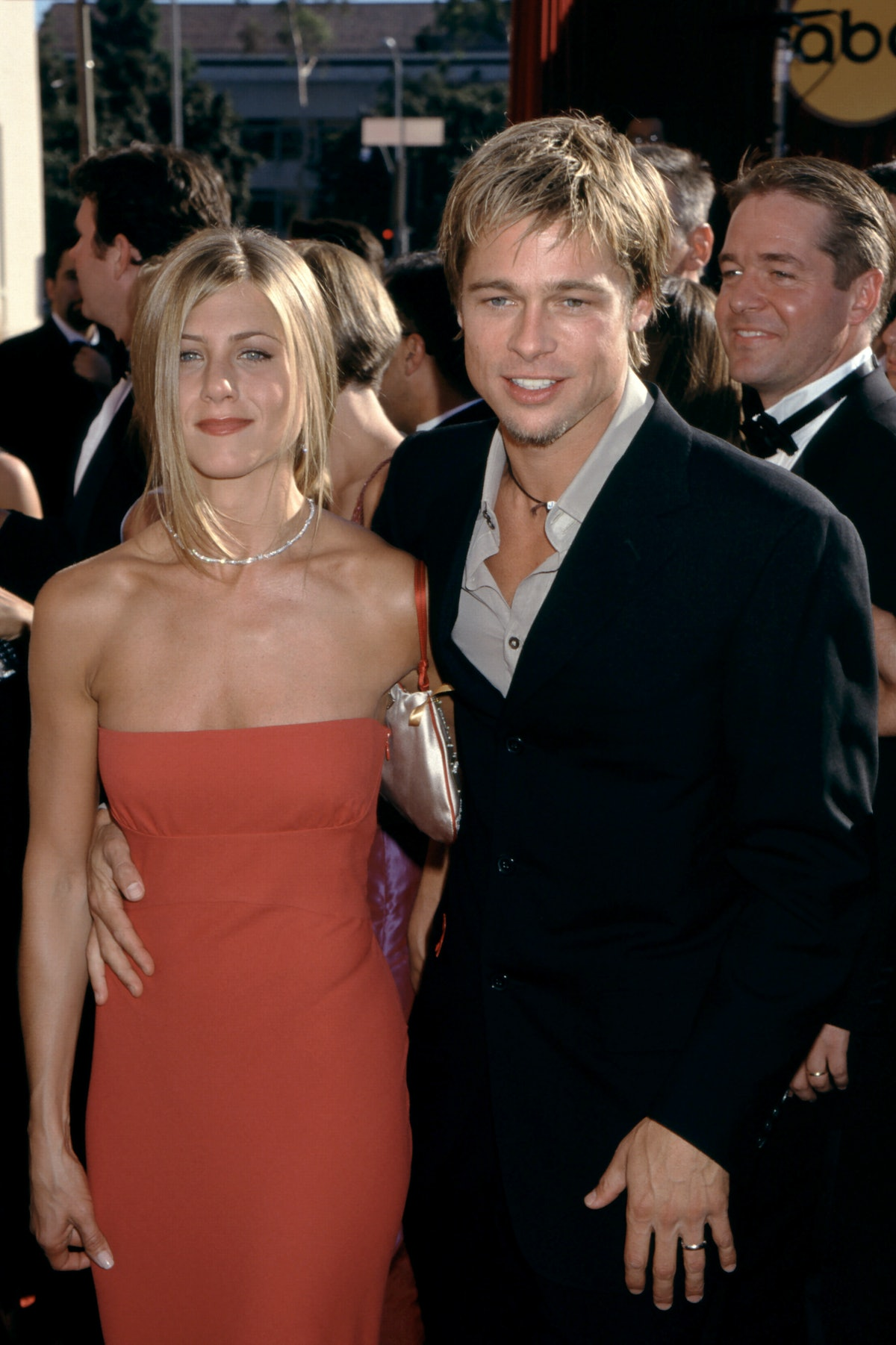 LOS ANGELES, CA - SEPTEMBER 10: Actor Brad Pitt and wife actress Jennifer Aniston arrive at the 52nd...