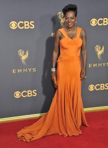 LOS ANGELES, CA - SEPTEMBER 17:  Viola Davis arrives at the 69th Annual Primetime Emmy Awards at Mic...