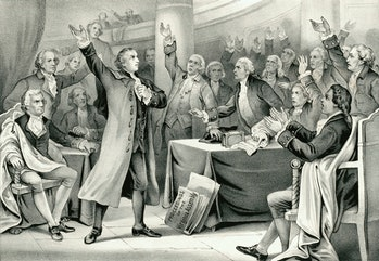 Vintage illustration features Patrick Henry delivering his speech on the rights of the colonies, bef...