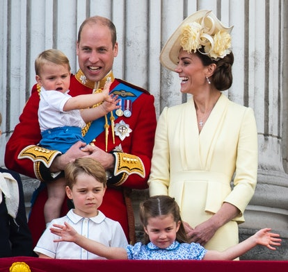 The Duke and Duchess of Cambridge with their children, Prince Louis, Prince George and Princess Char...