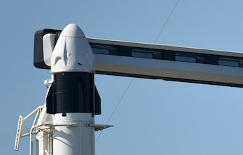 FLORIDA, UNITED STATES - SEPTEMBER 15: A Falcon 9 rocket and a Crew Dragon capsule stand ready to la...