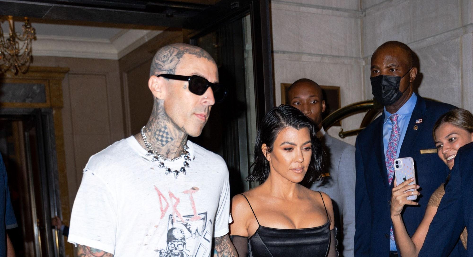 NEW YORK, NEW YORK - SEPTEMBER 11: Travis Barker (L) and Kourtney Kardashian are seen in Midtown on ...