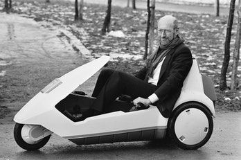 The New Electric Vehicle Sir Clive Sinclair in his new electric vehicle, the C5. Sir Clive meets the...