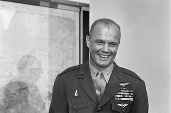 (Original caption) 3/9/1962-Washington, DC- Lt. Col. John Glenn displays his now famous smile after ...