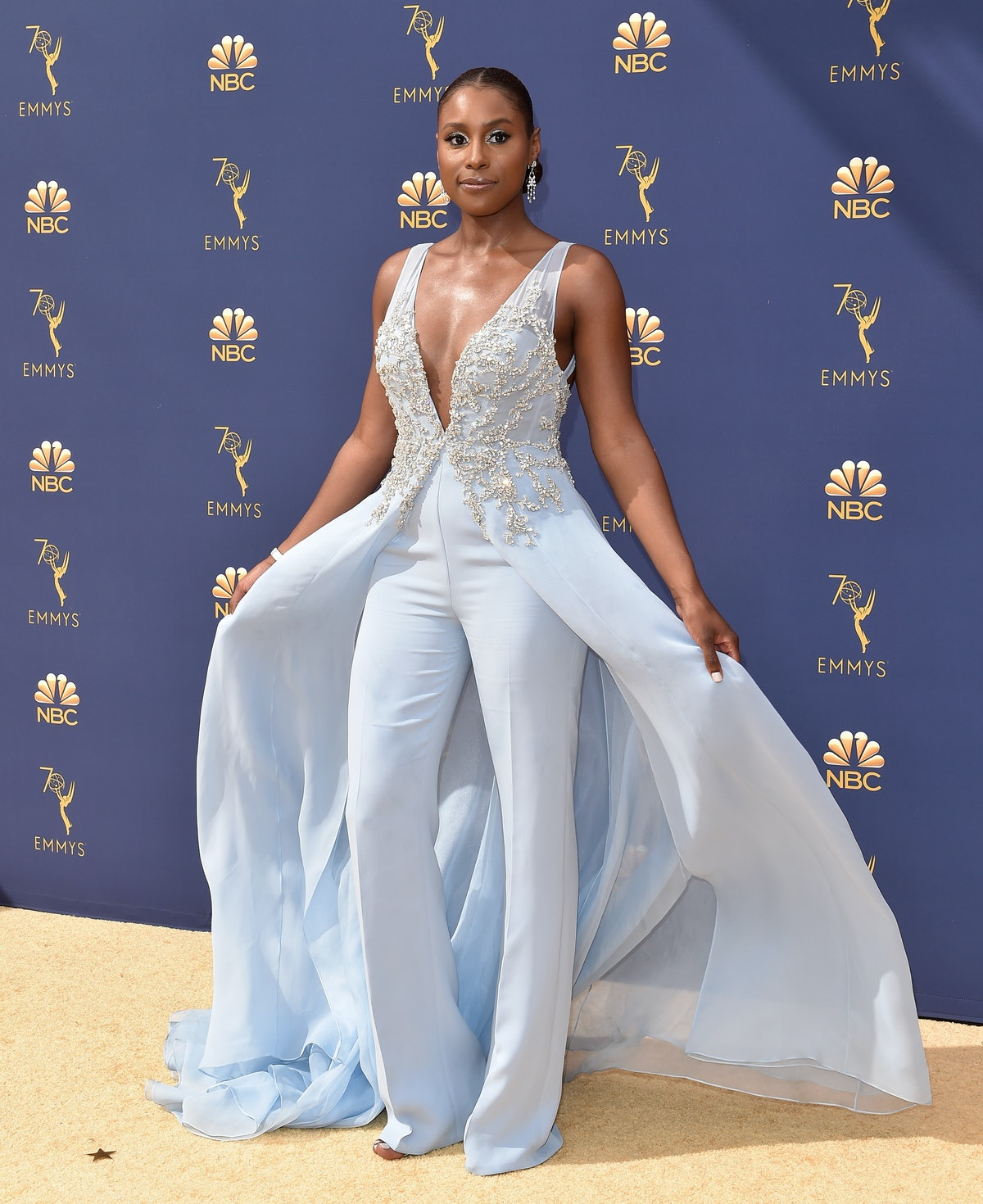 LOS ANGELES, CA - SEPTEMBER 17:  Issa Rae attends the 70th Emmy Awards at Microsoft Theater on Septe...