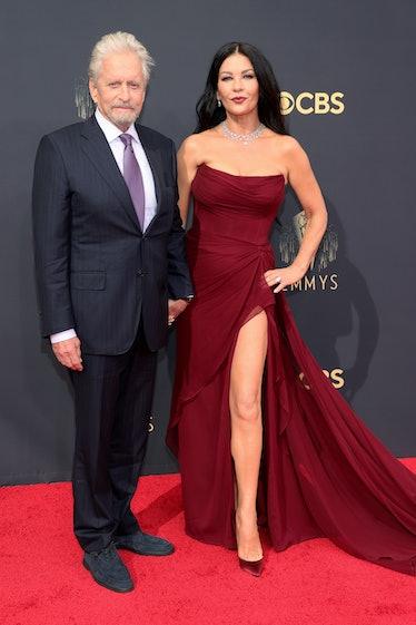 LOS ANGELES, CALIFORNIA - SEPTEMBER 19: (L-R) Michael Douglas and Catherine Zeta-Jones attend the 73...