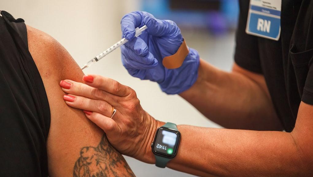 COLUMBUS, OHIO, UNITED STATES - 2021/08/23: A man receives the Coronavirus (COVID-19) vaccine from O...