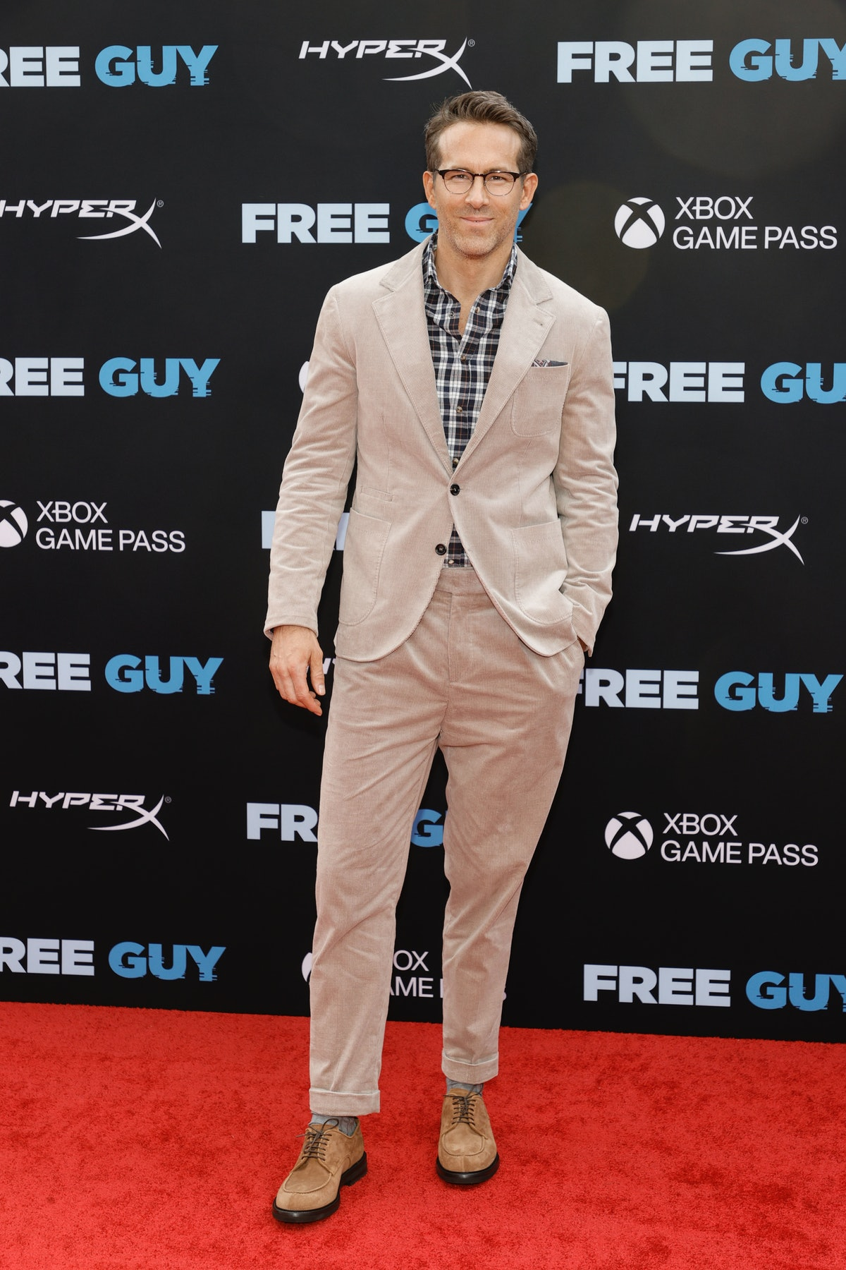 """NEW YORK, NEW YORK - AUGUST 03: Ryan Reynolds attends the """"Free Guy"""" New York Premiere at AMC Lincol..."""