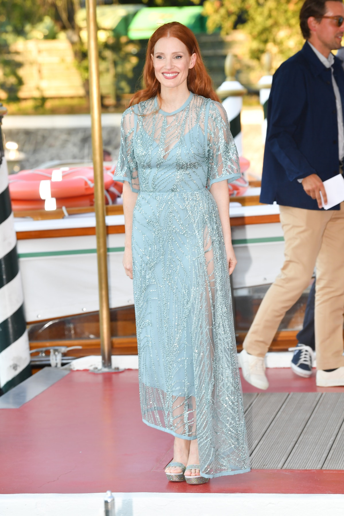 VENICE, ITALY - SEPTEMBER 02: Jessica Chastain is seen arriving at the 78th Venice International Fil...