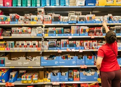 customer shopping for school supplies at Walmart store in Texas