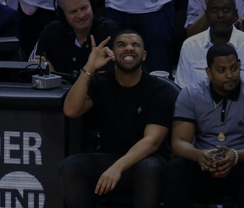 TORONTO, ON - MAY 23: Rapper Drake reacts while sitting courtside in the first half of game four of ...