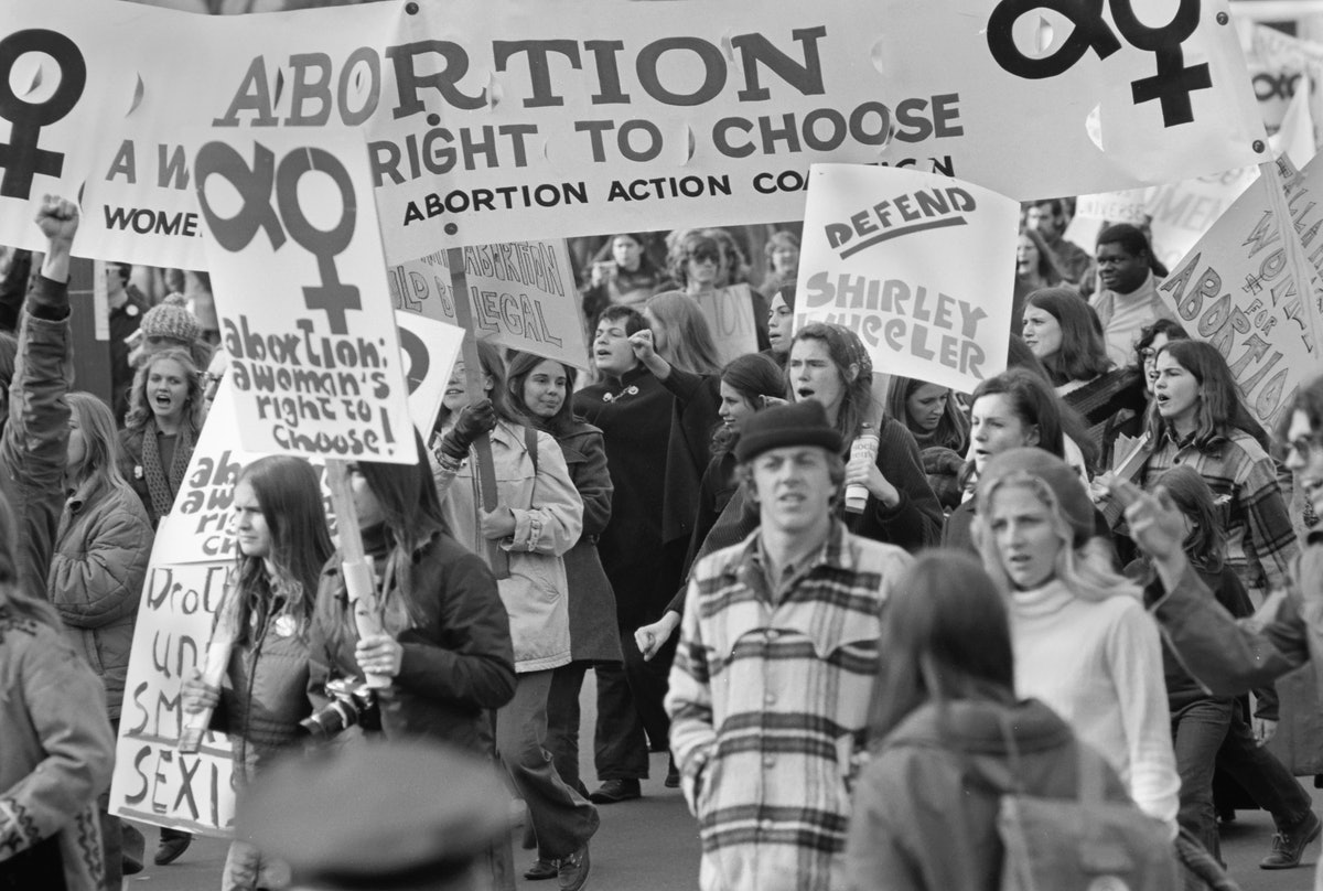 View of pro-Choice demonstrators, may with signs, as they march on Pennsylvania Avenue, Washington D...