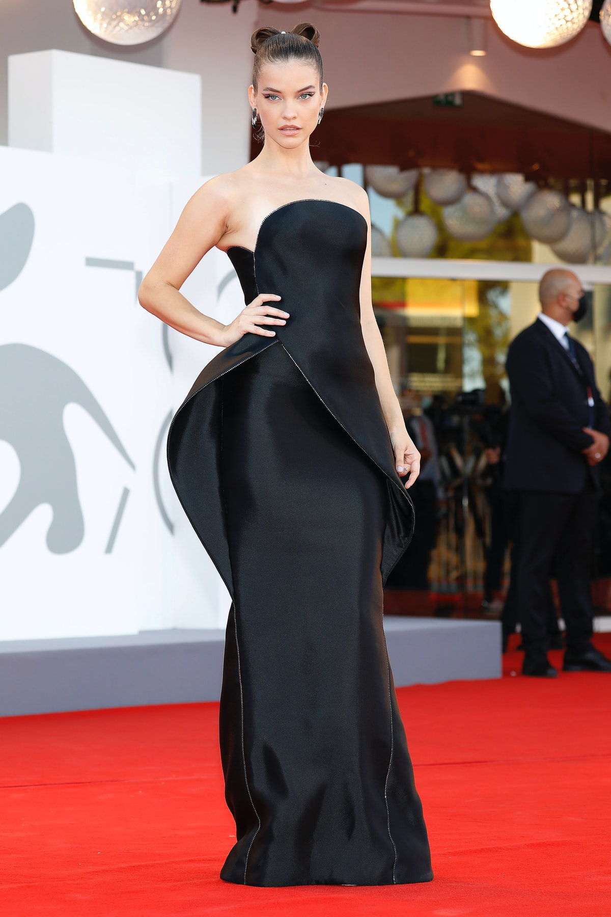 Barbara Palvin at the red carpet of 'Madres Parallels' and Opening Ceremony during the 78th Venice I...