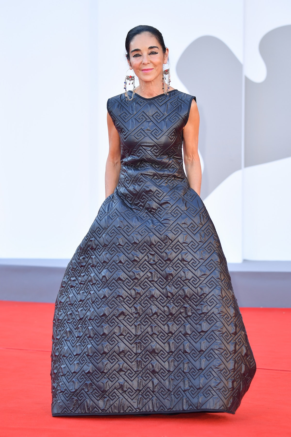 """VENICE, ITALY - SEPTEMBER 02: Shirin Neshat attends the red carpet of the movie """"The Hand Of God"""" du..."""