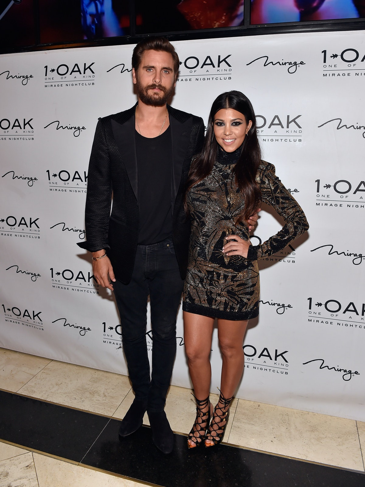 Scott Disick and Kourtney Kardashian attend his birthday celebration in 2015, not long before breaki...