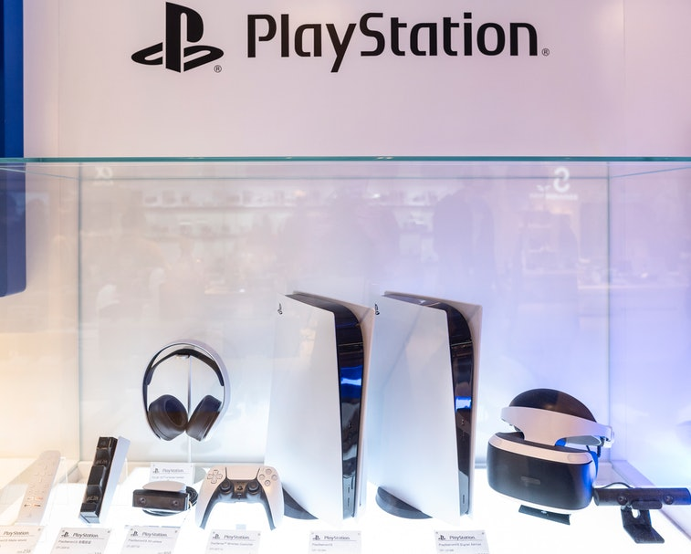 HONG KONG, CHINA - 2021/01/21: Japanese video gaming system brand created and owned by Sony Computer...