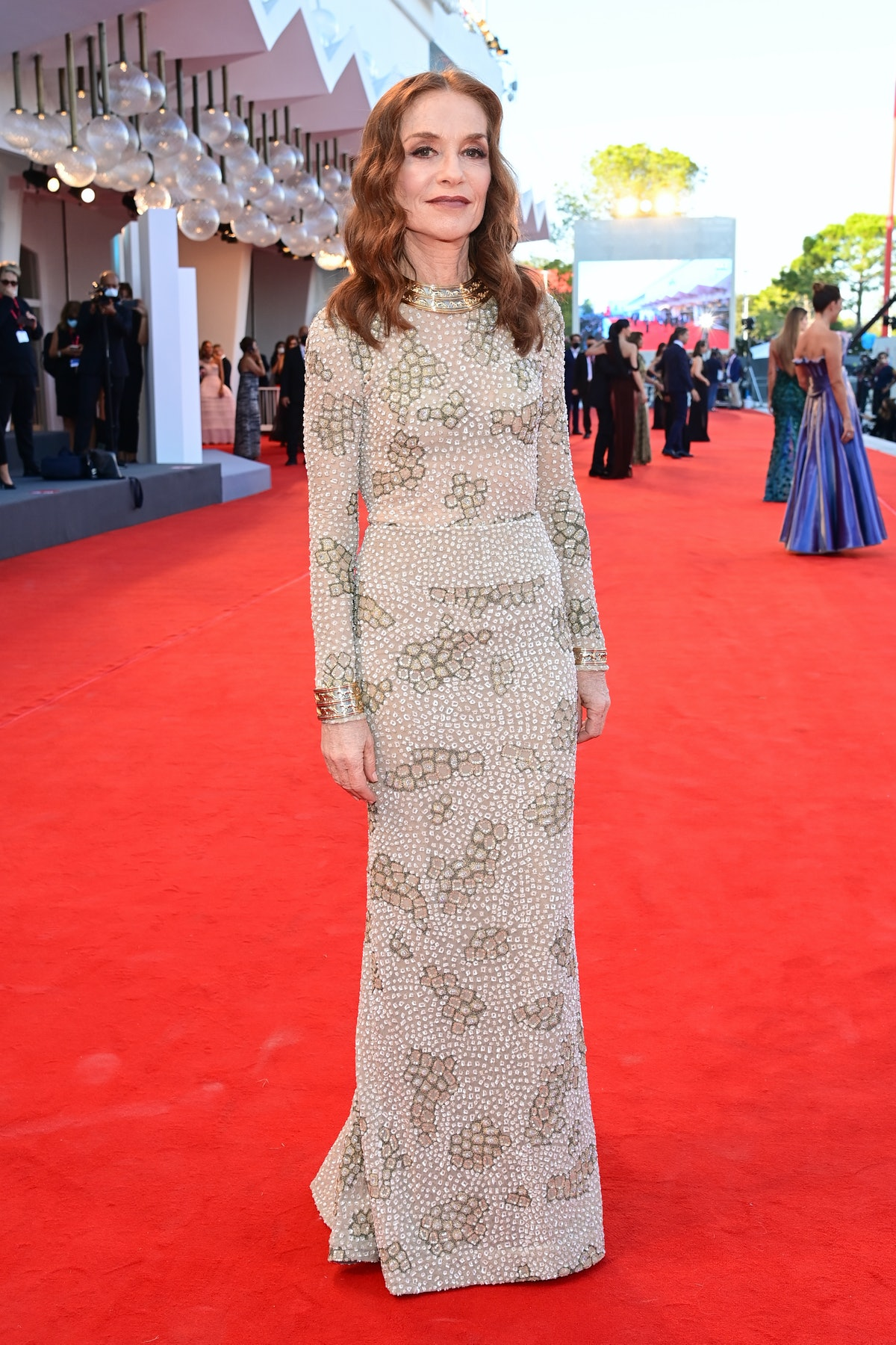 """Isabelle Huppert attends the red carpet of the movie """"Madres Paralelas"""" during the 78th Venice Inter..."""