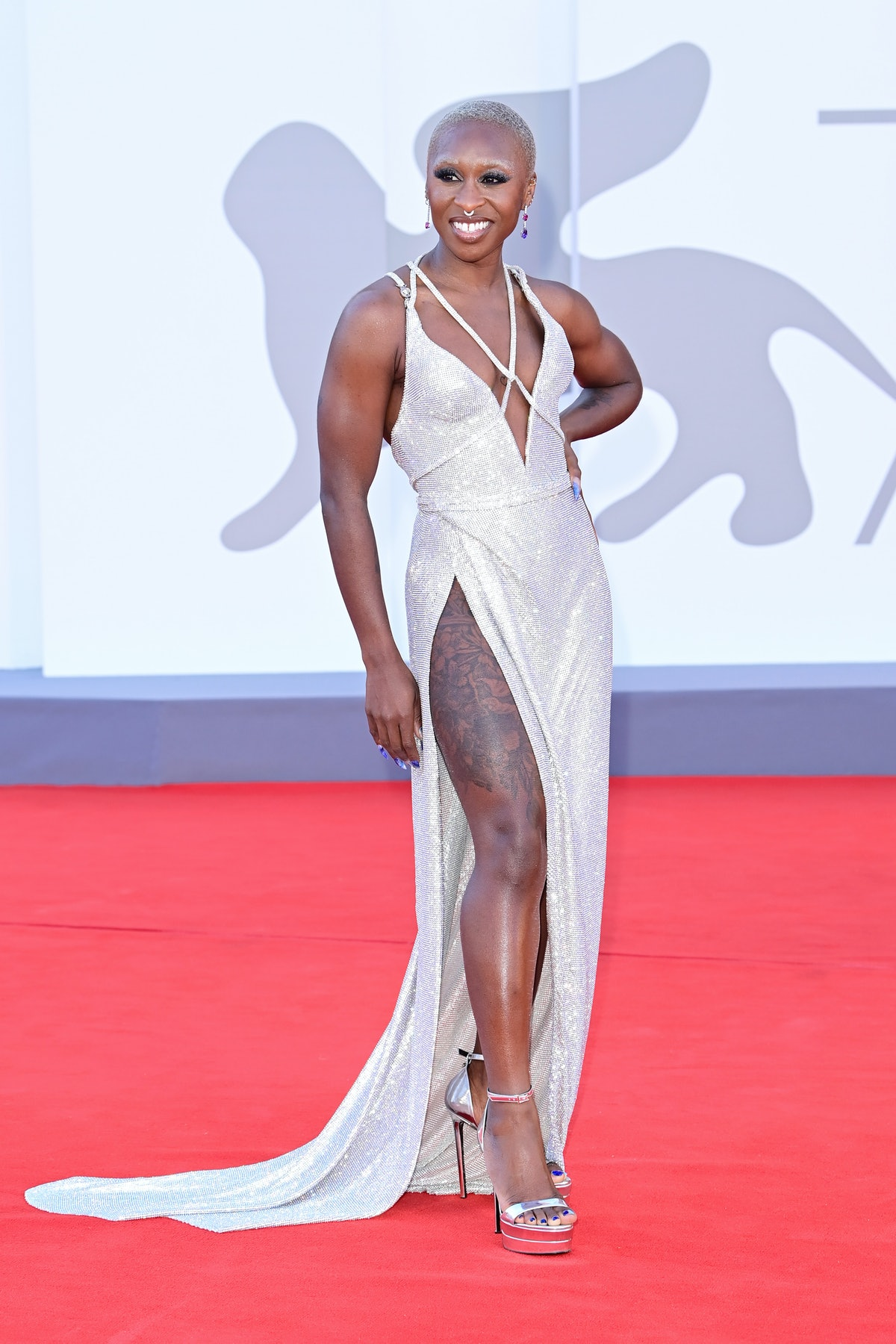 """Cynthia Erivo attends the red carpet of the movie """"Madres Paralelas"""" during the 78th Venice Internat..."""