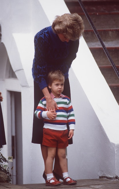 Princess Diana with Prince William on his first day of nursery.