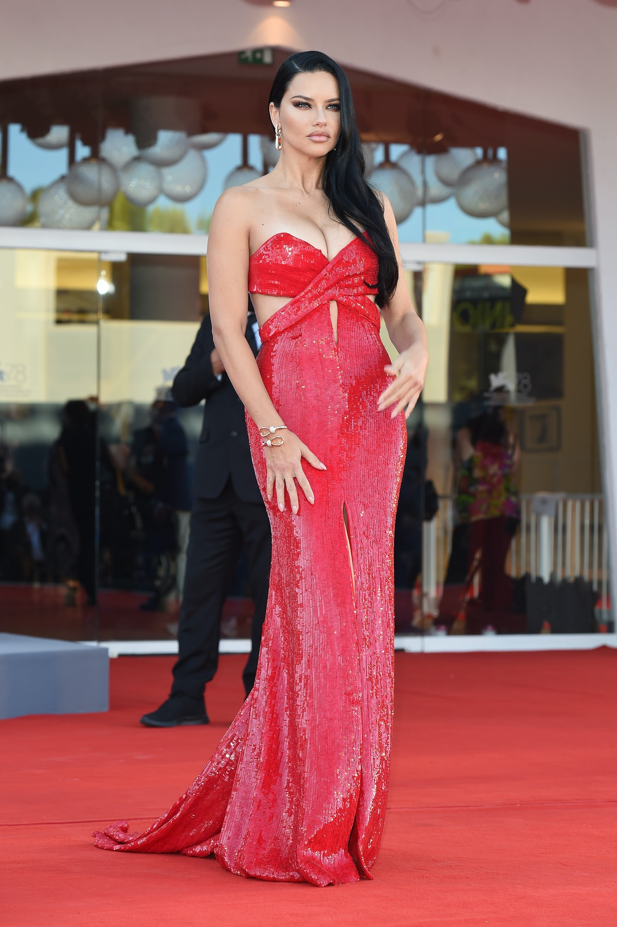 """Adriana Lima attends the red carpet of the movie """"Madres Paralelas"""" during the 78th Venice Internati..."""