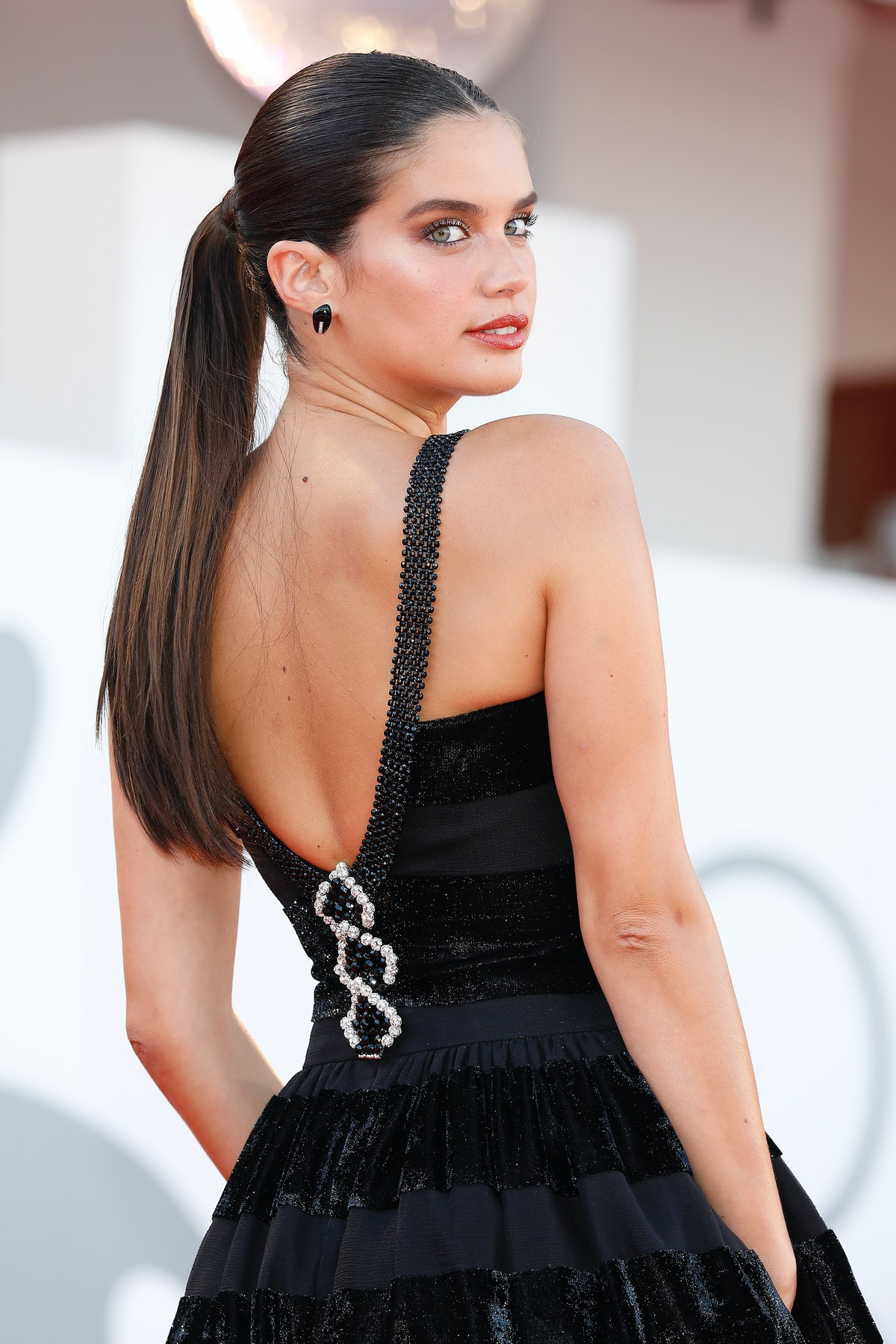 VENICE, ITALY - SEPTEMBER 01, 2021: Sara Sampaio arrives at the red carpet of 'Madres Parallels' and...