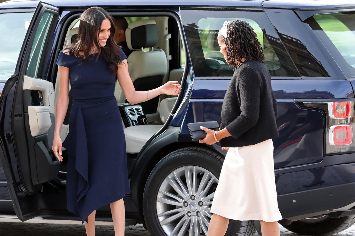 US actress and fiancee of Britain's Prince Harry Meghan Markle arrives with her mother Doria Ragland...